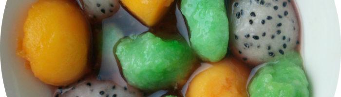 Shiratama Dango mit Mango und Drachenfrucht